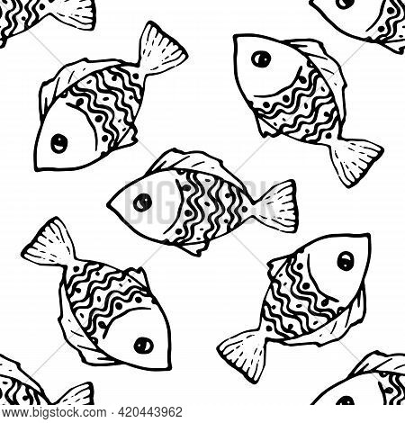 Colorful Doodle Fish Pattern In Vintage Style On White Background.vector Seamless Pattern Of Cute Do