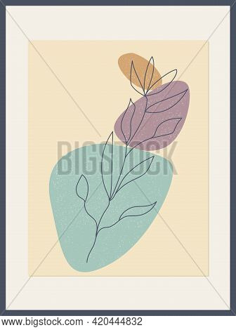 Poster With Minimalist Botanical Leaf Branch And Abstract Organic Shapes. Botanical Wall Art Vector