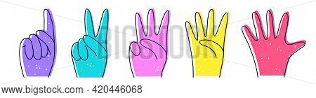 Numbers With Hands Illustration In Doodle Style. Designation Of Numbers With Hands, Gestures. Counti