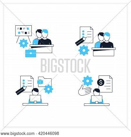 Talent Management Flat Icons Set.payroll Management, Project Management, Employee Task Management, S