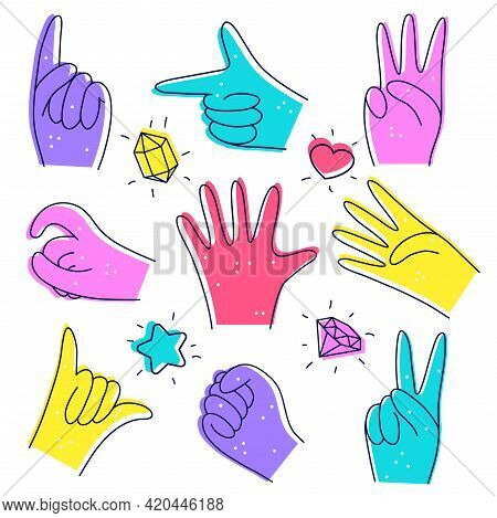Set Of Cute Diverse Hands. Illustration In Doodle Style. Designation Of Numbers With Hands, Gestures