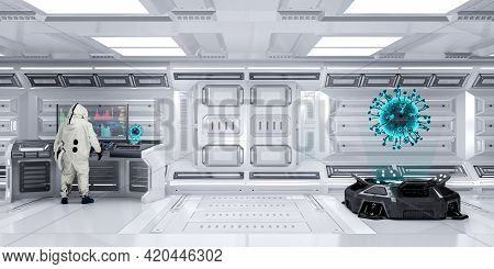 Laboratory Scientist Officer Wearing Hazmat Suit Working In Futuristic Laboratory Sci-fi Research Ro