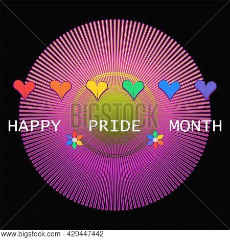 Happy Pride Month Background With Text, Hearts, Flowers In Rainbow Colors. Vector Illustration Desig
