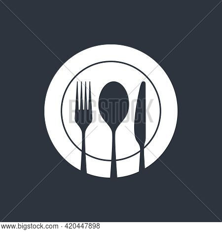 Spoon, Fork And Knife On The Plate. Cutlery Isolated Sign On Black Background. Restaurant Menu Symbo