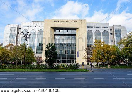 Bucharest, Romania, 7 November 2020: Main Building Of Bucharest Court In Bucharest, Romania, In A Su