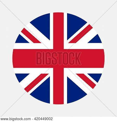 Round Flag Of England Country. England Flag With Button Or Badge