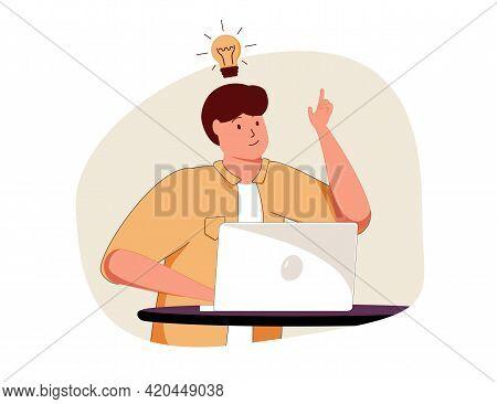 Business, Work, Success, Thought, Problem, Brainstorm Concept. Smart Happy Businessman Genius Cartoo