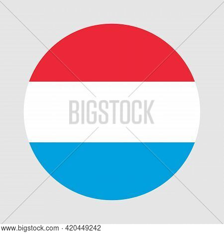 Round Flag Of Luxembourg Country. Luxembourg Flag With Button Or Badge
