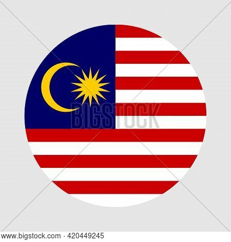 Round Flag Of Malaysia Country. Malaysia Flag With Button Or Badge