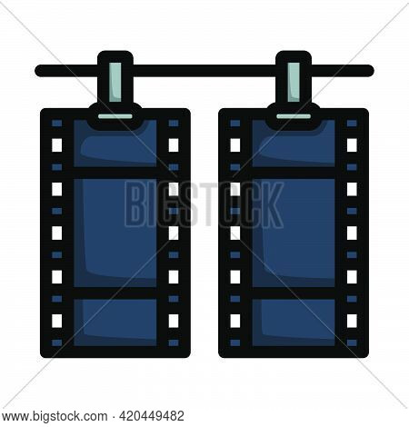 Icon Of Photo Film Drying On Rope With Clothespin. Editable Bold Outline With Color Fill Design. Vec