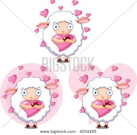 Sheep in love holding heart on different backgrounds poster