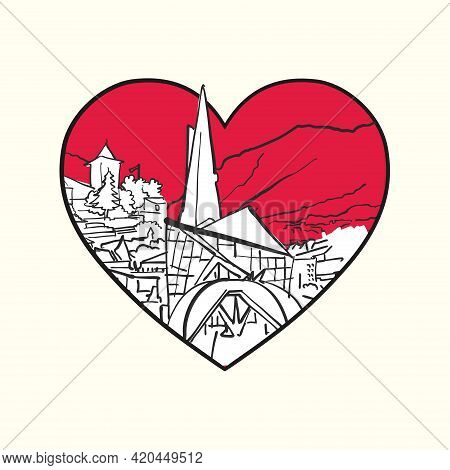 I Love Andorra La Vella. Red Heart And Famous Buildings, Andorra Composition. Hand-drawn Black And W