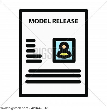Icon Of Model Release Document. Editable Bold Outline With Color Fill Design. Vector Illustration.