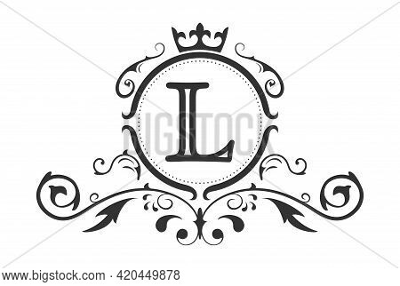 Stylized Letter L Of The Latin Alphabet. Monogram Template With Ornament And Crown For Design Of Ial