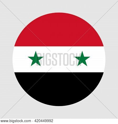 Round Flag Of Syria Country. Syria Flag With Button Or Badge.