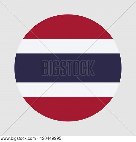 Round Flag Of Thailand Country. Thailand Flag With Button Or Badge.