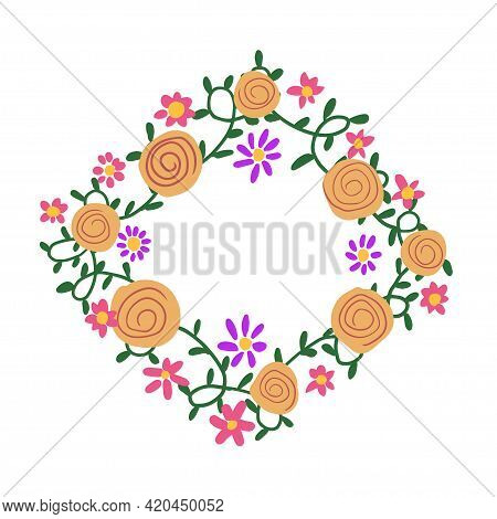 Floral Hand Drawing Frame Design. Modern Colored Doodle Style Template For Greeting Card, Design Inv