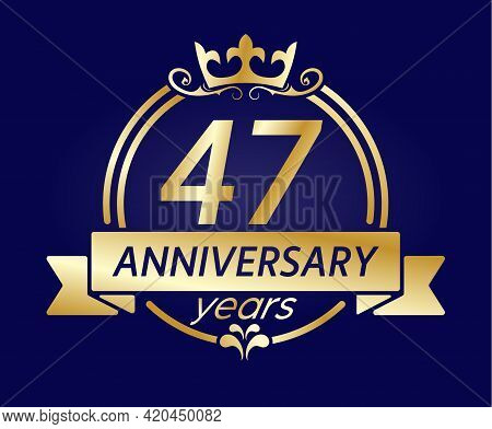 47 Year Anniversary. Gold Round Frame With Crown And Ribbon. Vector Illustration For Birthday, Weddi