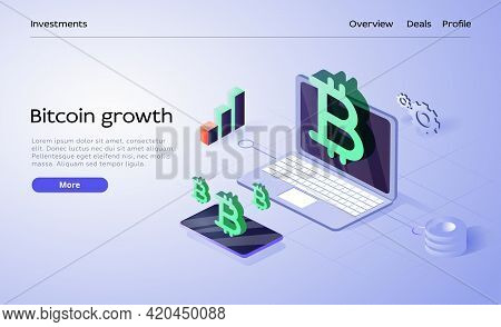 Cryptocoin Mining Farm Layout. Cryptocurrency And Blockchain Network Business Isometric Vector Illus
