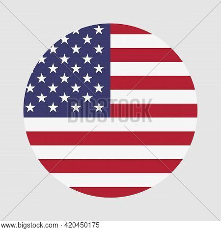 Round Flag Of America Country. America Flag With Button Or Badge