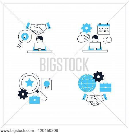 Talent Management Flat Icons Set.time Off Management, Goal Agreement Employee, Talent Analytics, Inc