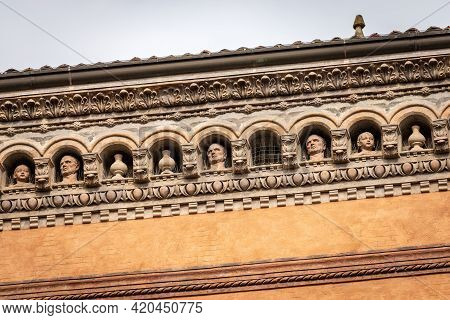 Close Up Of The Palazzo Isolani. Ancient Palace In Gothic And Renaissance Style (1451-1455) In Piazz