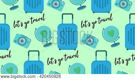 Vector Seamless Pattern With Travel Clip Art Set Of Objects - Luggage Bag, Globe, Instant Photo Came