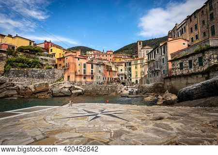 The Small And Ancient Tellaro Village, Considered One Of The Most Beautiful Villages In Italy, Touri