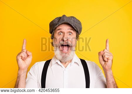 Photo Of Mature Man Excited Happy Positive Smile Point Finger Empty Space Ad Promo Choice Advise Iso