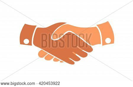 Business Handshake Contract Agreement Flat Vector Icon Isolated On White.