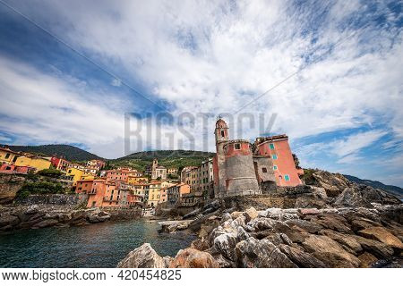 Small And Ancient Tellaro Village, Considered One Of The Most Beautiful Villages In Italy, Tourist R