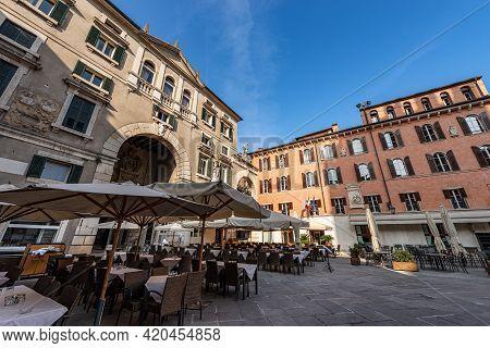 Verona, Piazza Dei Signori Also Known As Piazza Dante, A Square In The Historic Center Of The City W