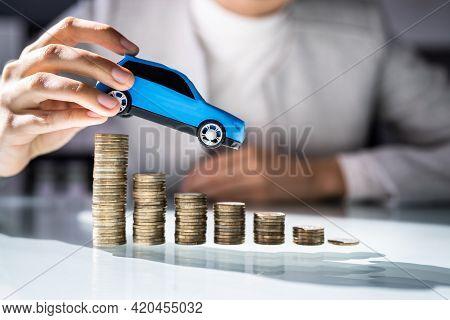 Car Prices Decline. Automobile Vehicle Sale And Insurance