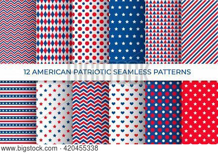 12 American Patriotic Seamless Patterns. Usa Traditional Stars And Stripes Background Set. Red Blue