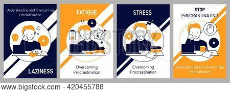 Procrastination Brochures Icons. Laziness And Stress, Fatigue And Stop Procrastinating. Flyers, Maga
