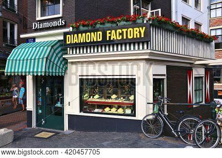 Amsterdam, Netherlands - July 7, 2017: Diamond Factory Jewelry Shop In Amsterdam, Netherlands. Amste