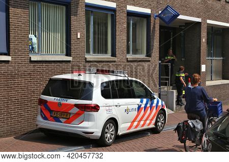 Amsterdam, Netherlands - July 7, 2017: Police Officers In Front Of Police Station In Amsterdam, Neth