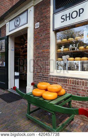 Amsterdam, Netherlands - July 7, 2017: Cheese Store Entrance In Amsterdam. Netherlands Is Famous For