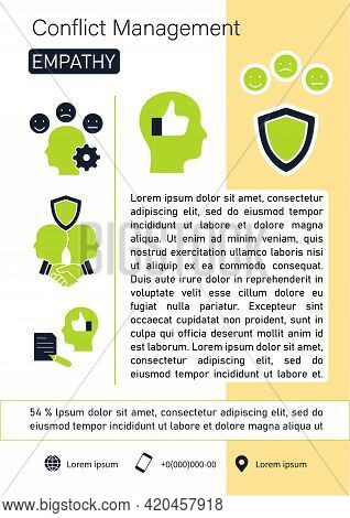 Conflict Management Brochure. Empathy Template. Flyer, Magazine, Poster, Book Cover, Booklet. Buildi