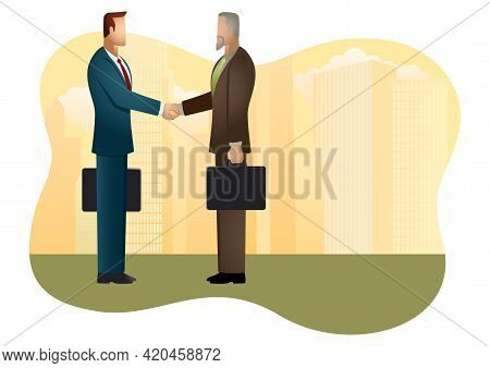 Business Vector Illustration, Business Deal, Business Concept Illustration.