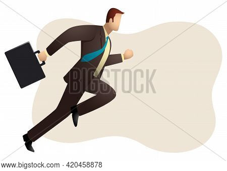 Business Simple Vector Illustration Of A Businessman Running With Briefcase, Business, Energetic, Dy