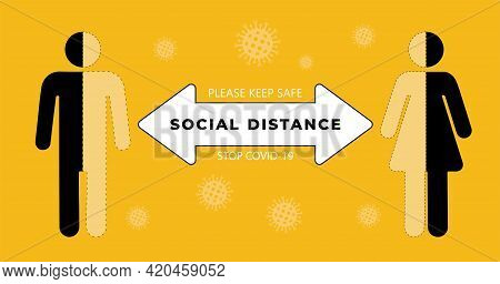 Social Distancing Set Of Icons. Simple Man And Woman Are Safe In  Against Virus And Infection. Socia