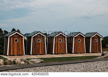 Wooden Houses On The Ocean Coast Bathing Cabins At Saint Marguerite Sur Mer