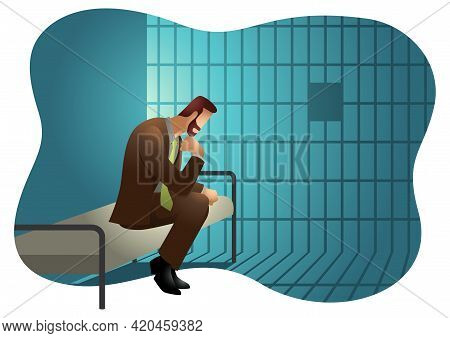 Business Vector Illustration Of A Businessman In Jail.