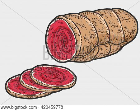 Half Ham, Slice. Sketch Scratch Board Imitation Color.