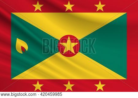 Flag Of Grenada. Fabric Texture Of The Flag Of Grenada.