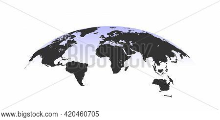 World Map. Spherical Curved World Map. World Map Globe Isolated. Vector Illustration
