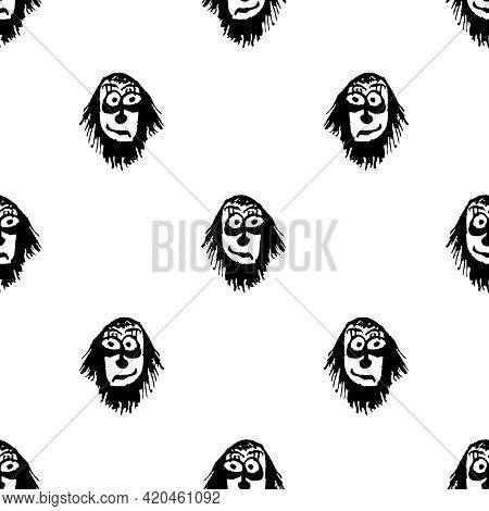 Funny Ghost Sketchy Drawing Motif Pattern