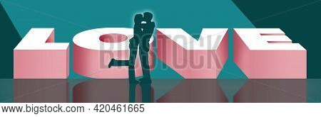 A Man And Woman Kiss In Front Of Large Letters That Spell Love. This Is A 3-d Illustration.