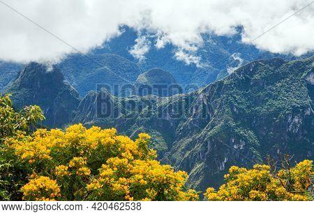 Machu Picchu Inca Town Seen From Start Of Salkantay Trek Near Cusco Or Cuzco In Peru, Peruvian Andes
